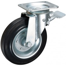 Swivel caster with brake 200x50mm rubber