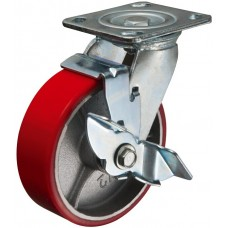 Swivel caster with brake 200x50mm PU