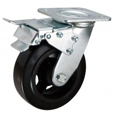 Swivel caster with double brake 200x50mm rubber