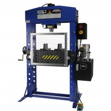 Electric shop press with hand winch 75 ton