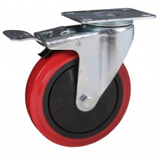 Swivel caster with brake 125x32mm PU