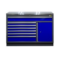 Bottom cabinet wide 7 drawers and 1 door with stainless steel worktop